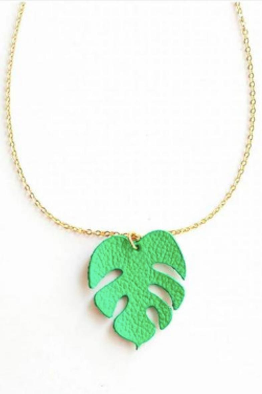 Vinuesa Made Monstera Leaf Necklace - Front Cropped Image