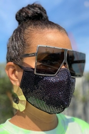 Viola  Black Sequin Face Mask - Back cropped