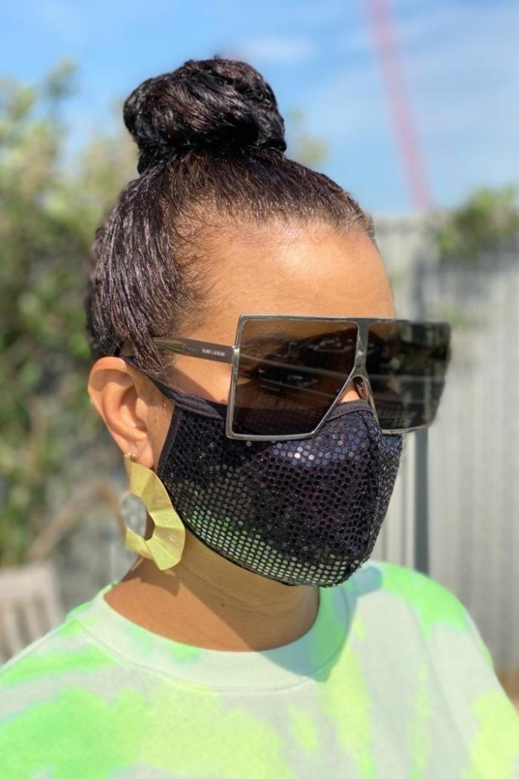 Viola  Black Sequin Face Mask - Side Cropped Image