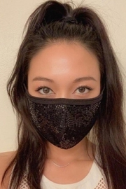 Viola  Black Sequin Face Mask - Product Mini Image