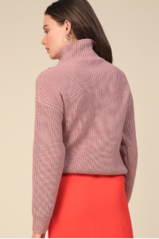 Line & Dot Violet Checkered Sweater - Back cropped