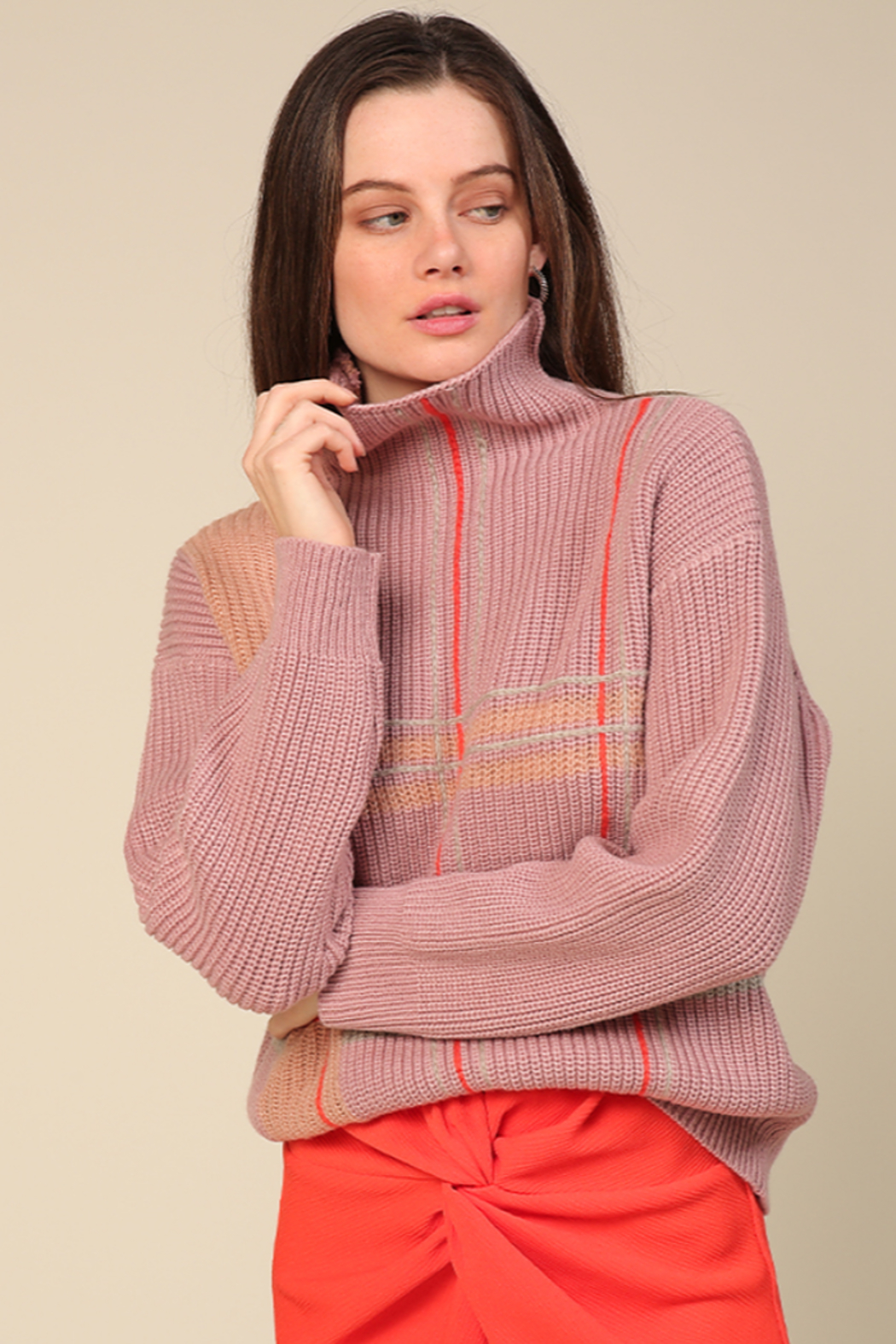 Line & Dot Violet Checkered Sweater - Side Cropped Image