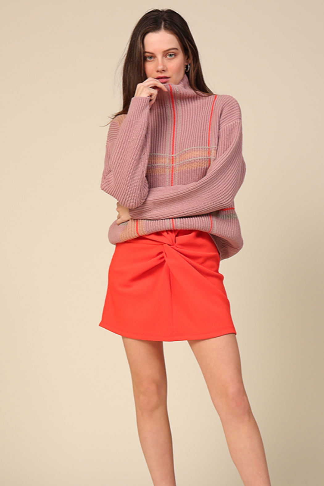 Line & Dot Violet Checkered Sweater - Front Cropped Image