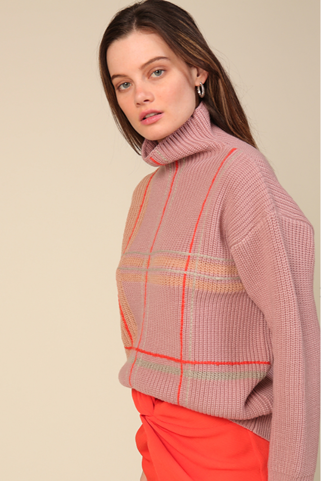 Line & Dot Violet Checkered Sweater - Main Image