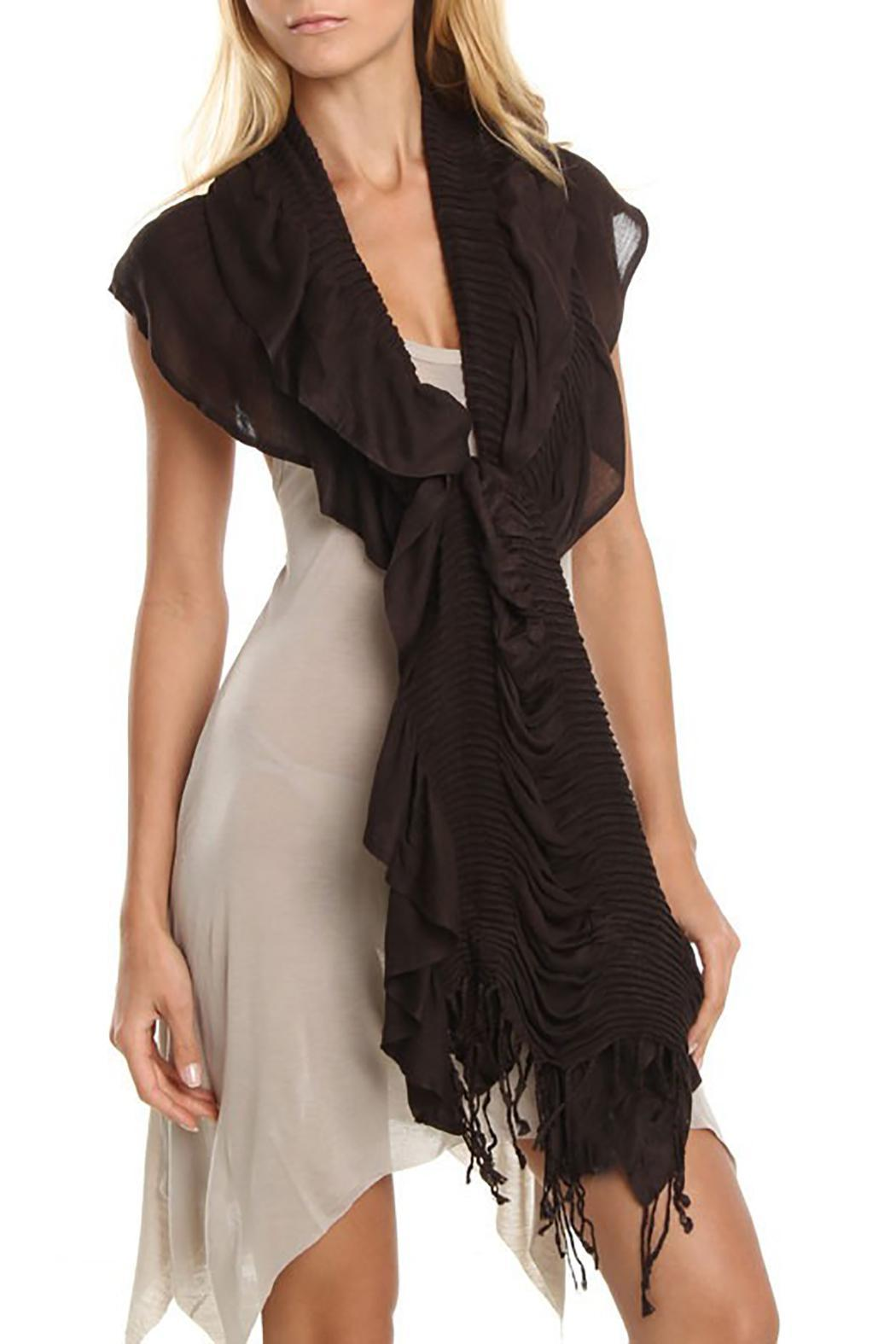 Violet Del Mar Bamboo Ruffle Scarf - Front Cropped Image