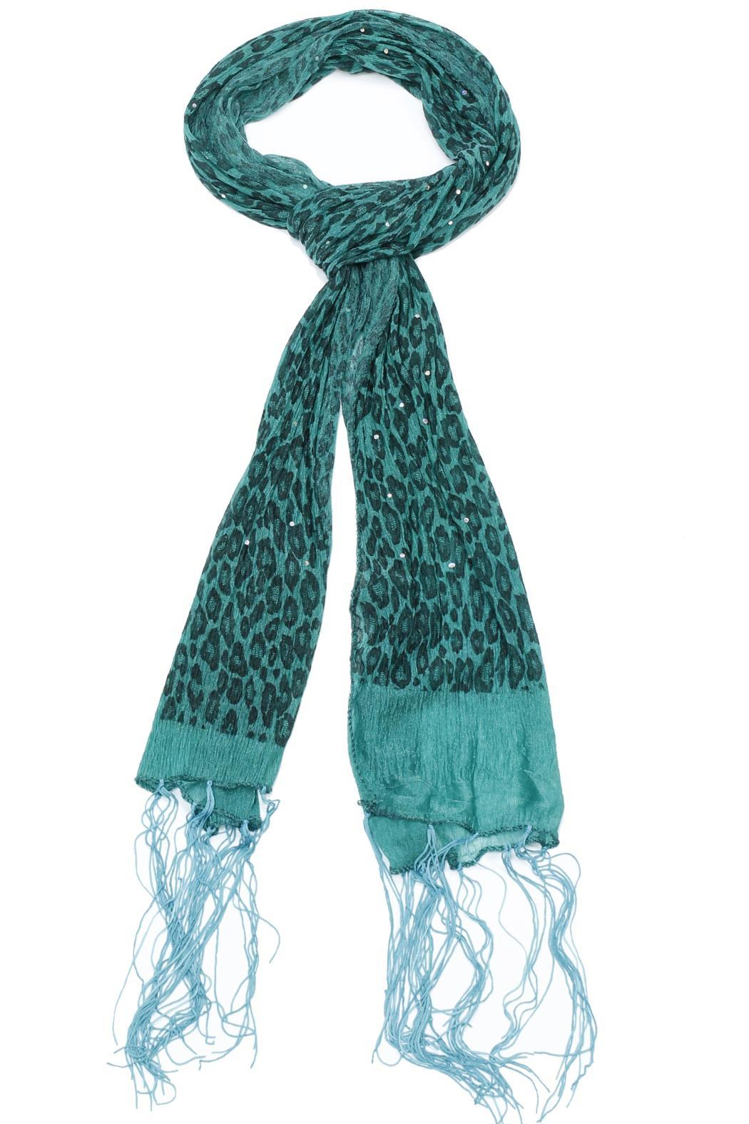Violet Del Mar Beaded Leopard Green Scarf - Main Image