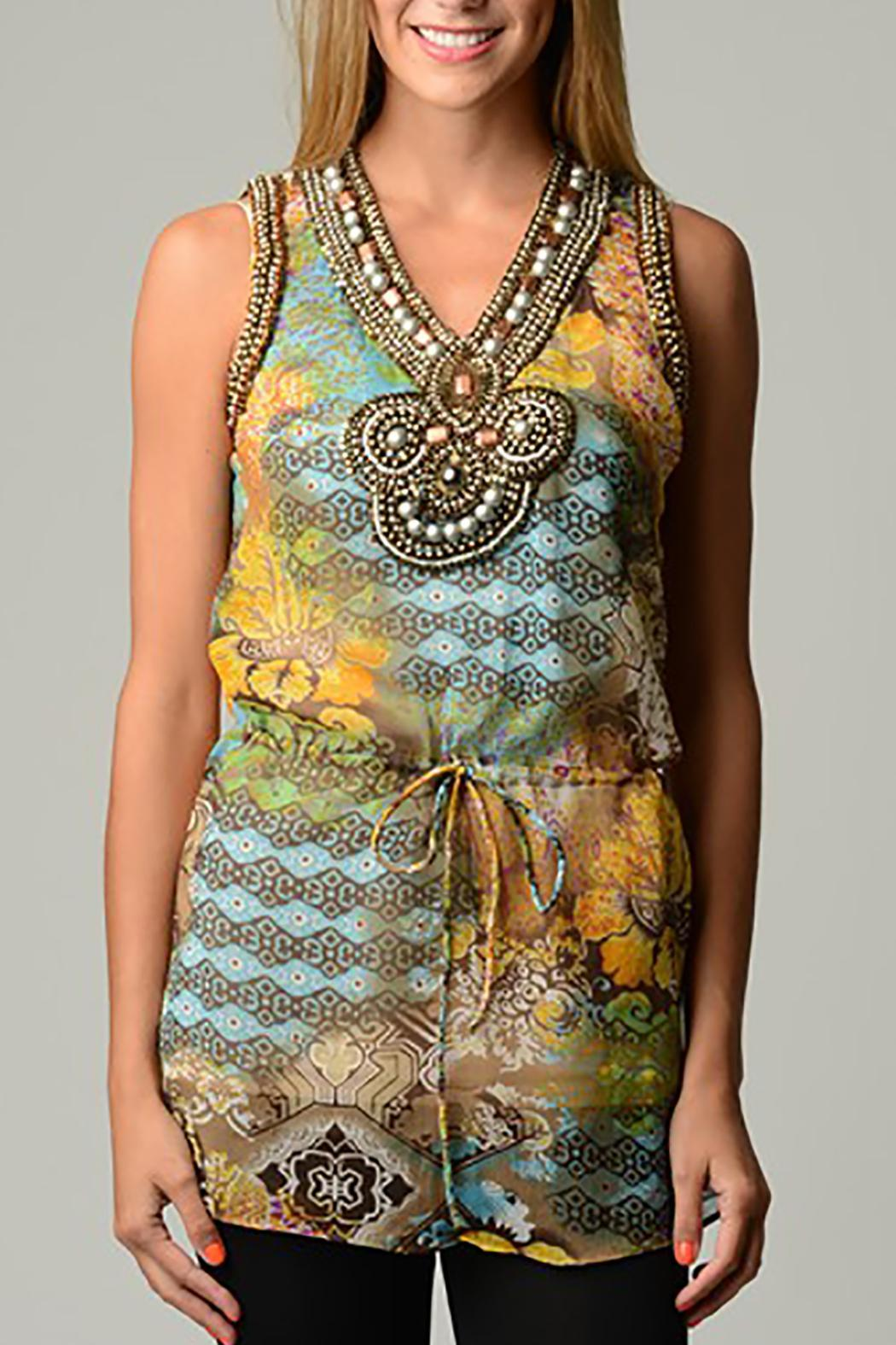 Violet Del Mar Gold-Blue Sleeveless Tunic - Main Image