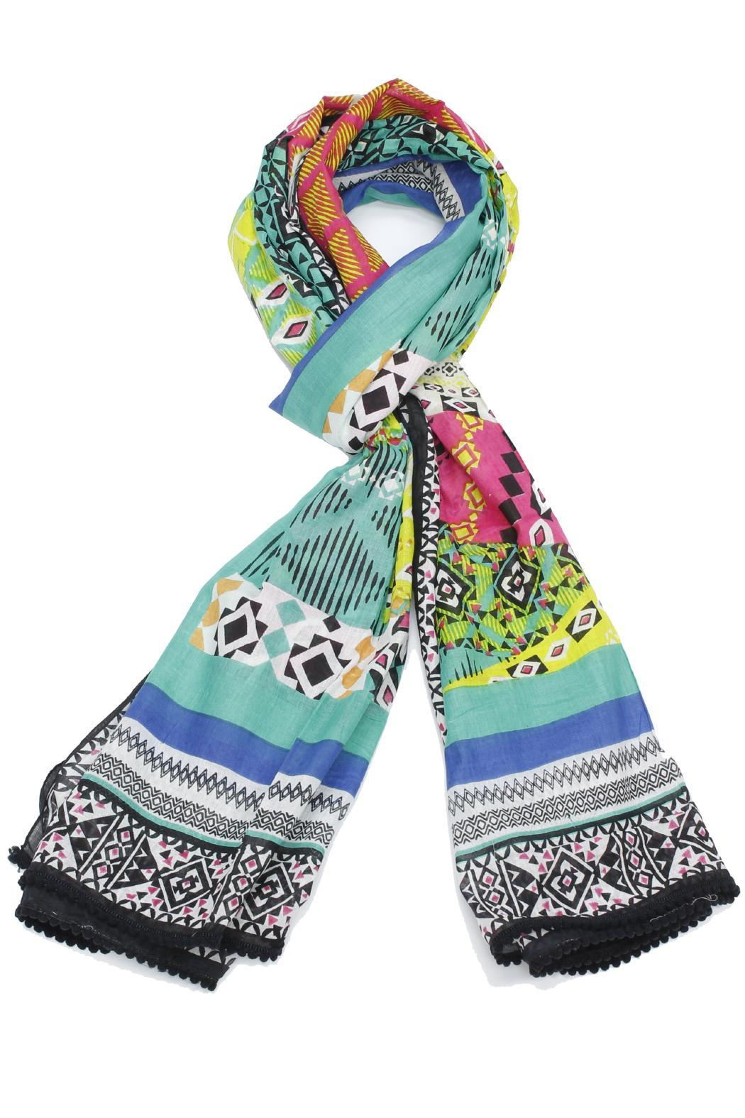 Violet Del Mar Bright Color Scarf - Front Cropped Image