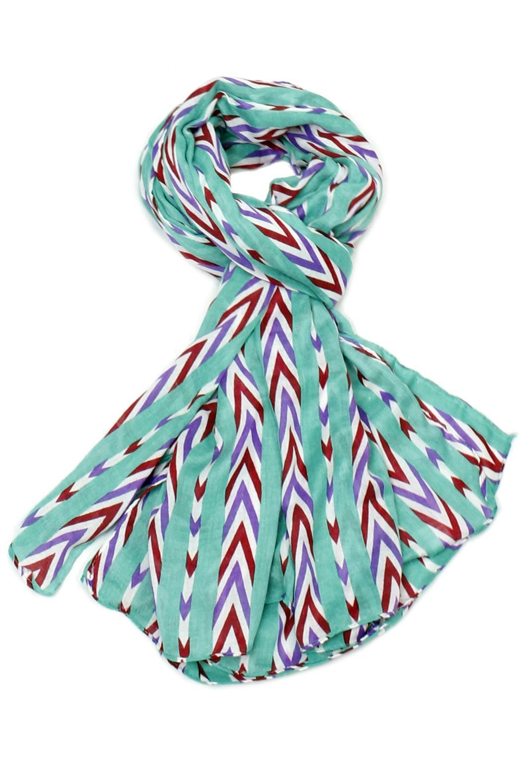 Violet Del Mar Candy Stripe Scarf - Front Cropped Image