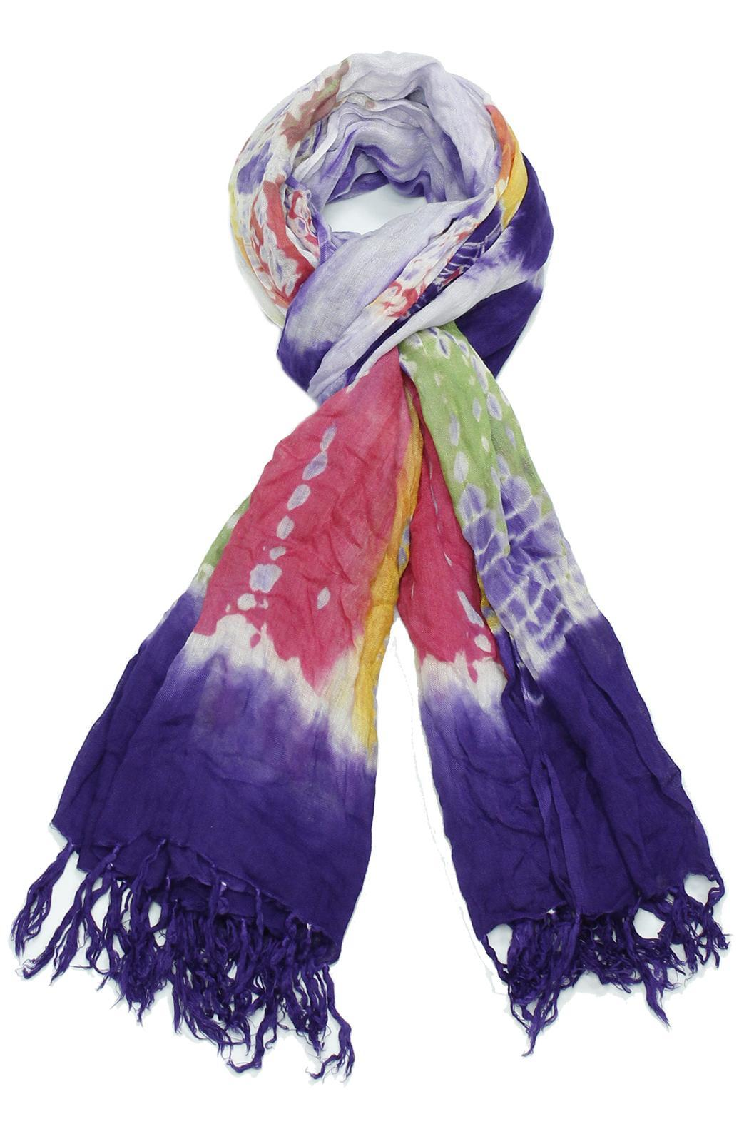 Violet Del Mar Colorful Tie Dye Scarf - Front Cropped Image