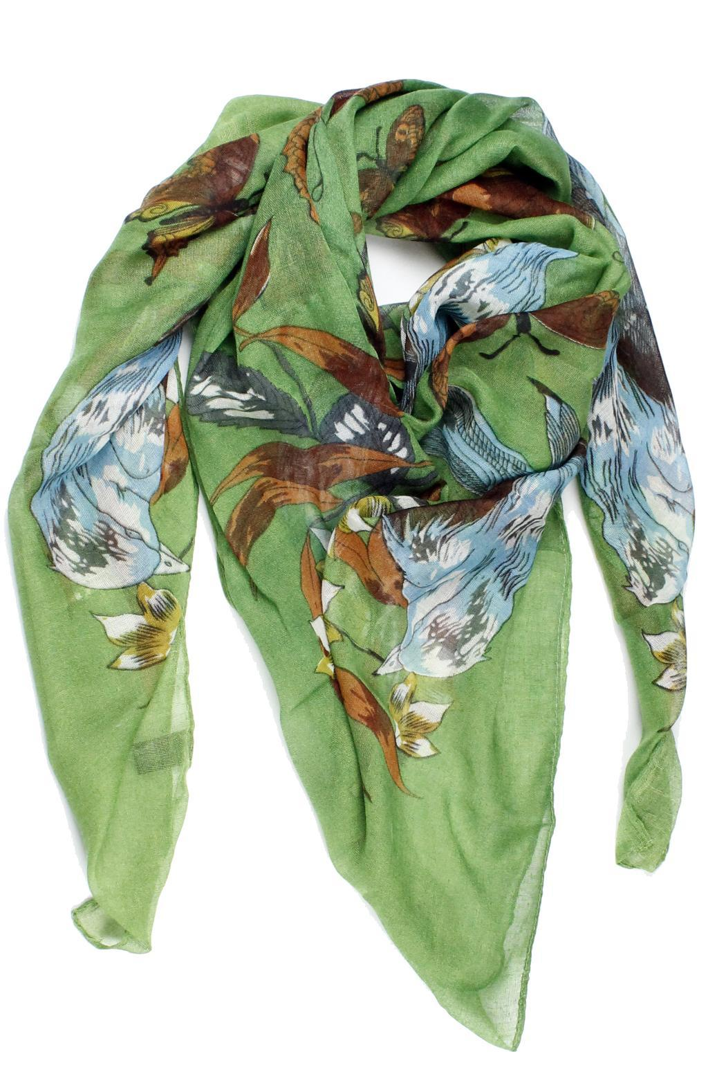 Violet Del Mar Green Bird Scarf - Main Image
