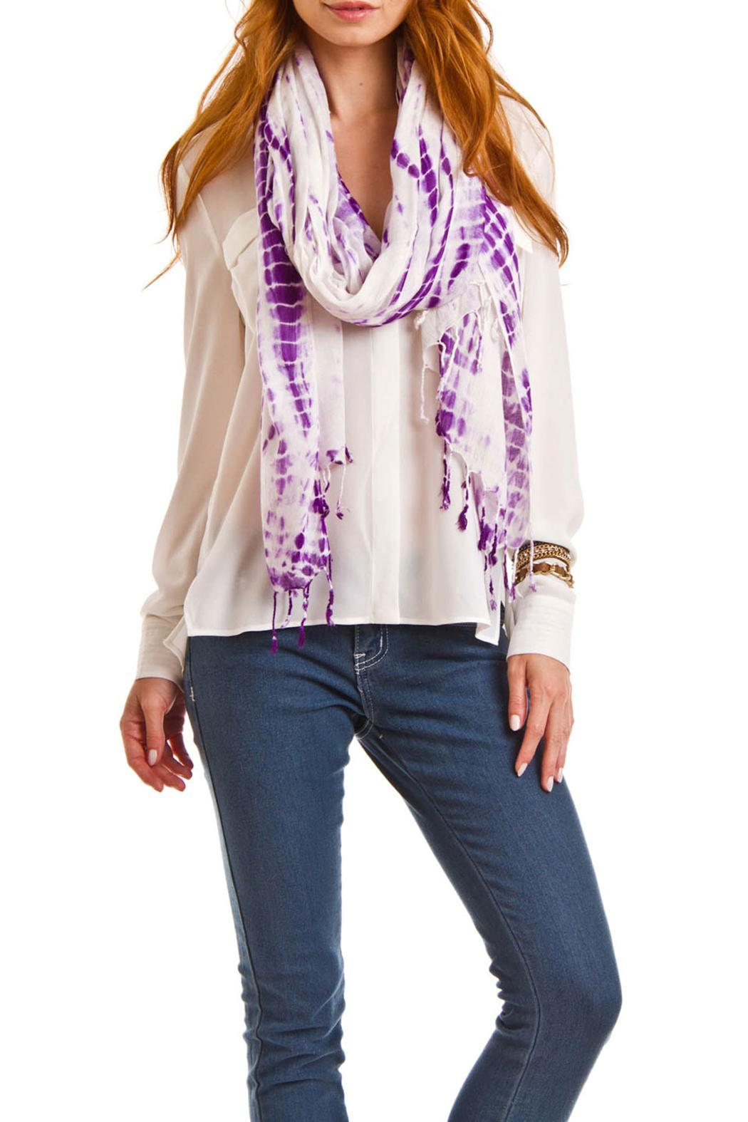 Violet Del Mar Hand Tie-Dye Scarf - Front Full Image