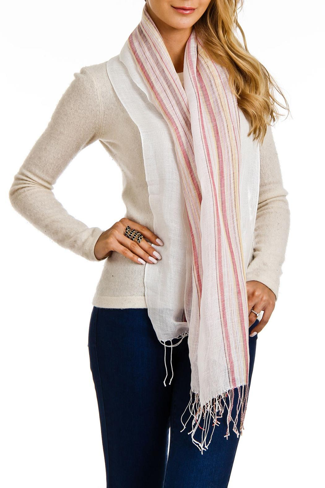 Violet Del Mar Italian Stripe Scarf - Front Cropped Image