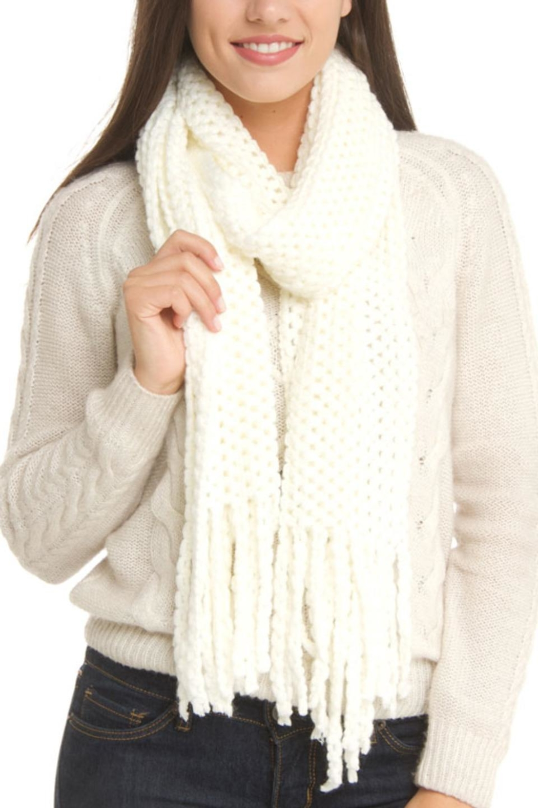 Violet Del Mar Knitted White Scarf - Main Image