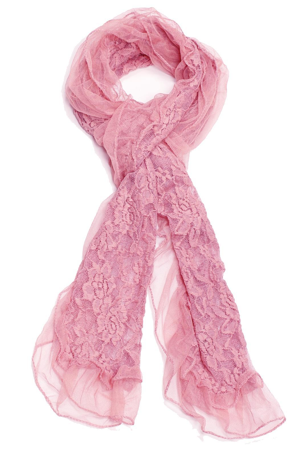 Violet Del Mar Lace Flower Scarf - Front Cropped Image