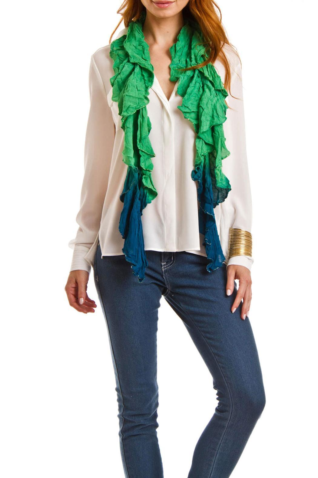 Violet Del Mar Lightweight Ruffle Scarf - Front Cropped Image