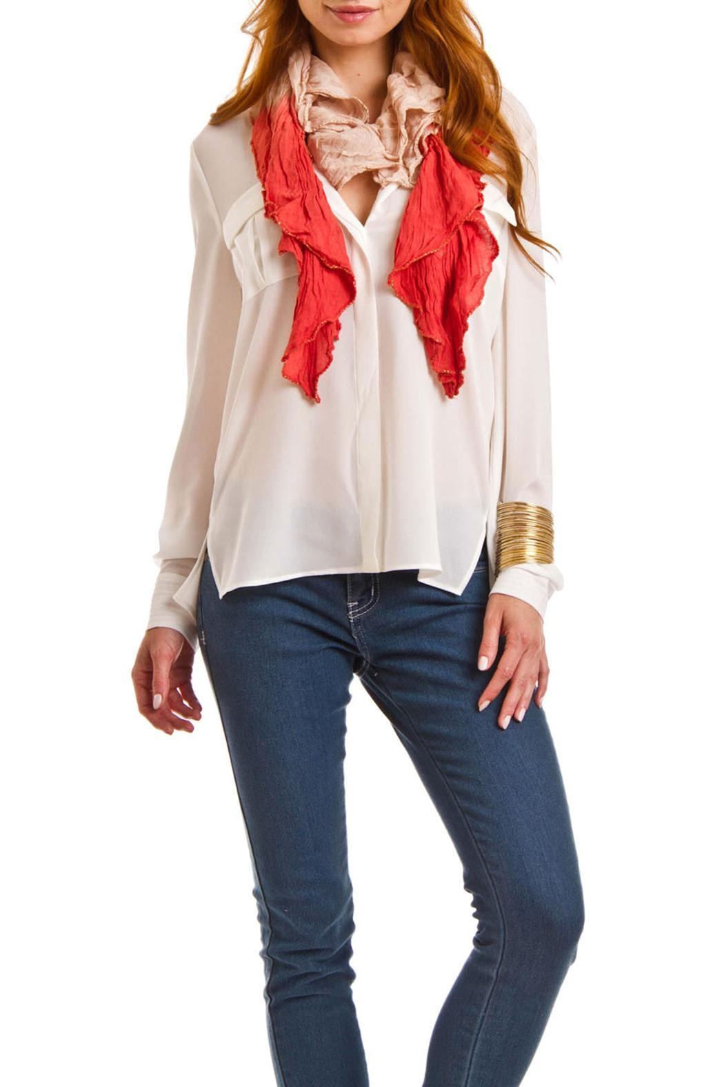 Violet Del Mar Lightweight Ruffle Scarf - Front Full Image