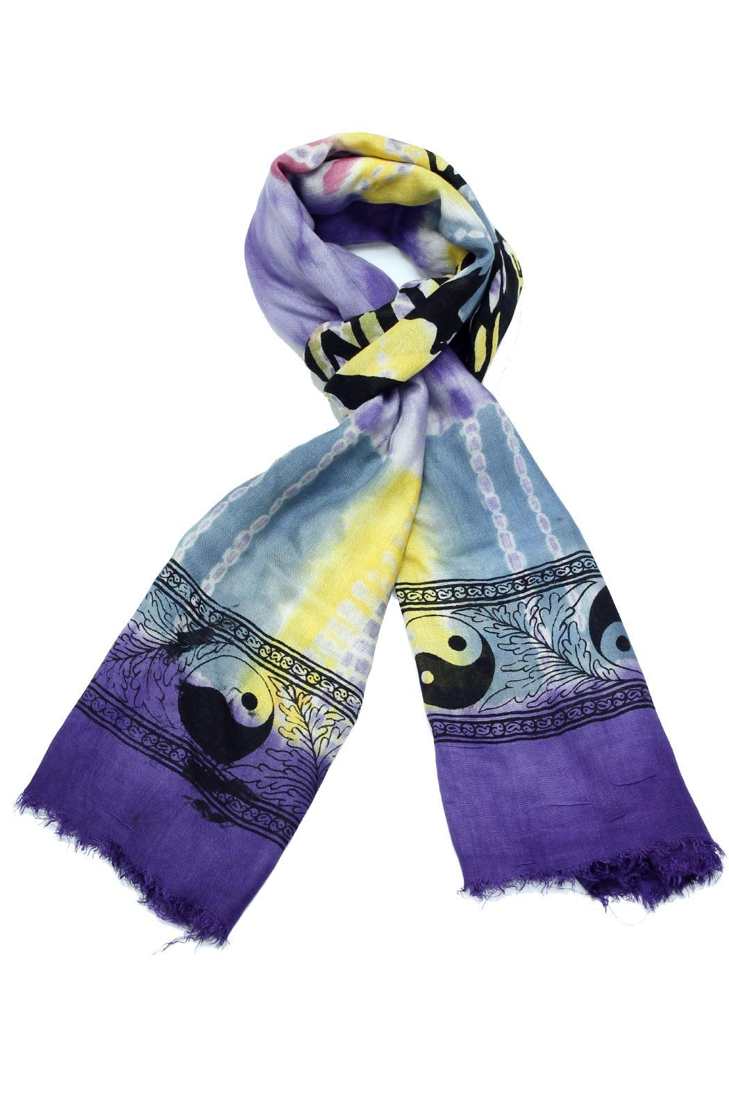 Violet Del Mar Tie-Dye Peace Scarf - Side Cropped Image