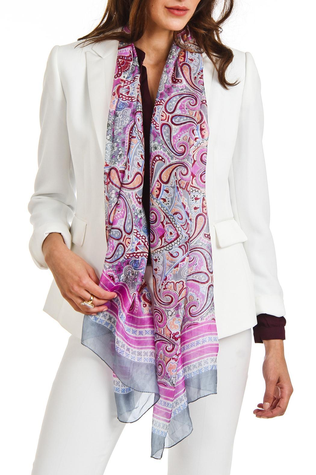 Violet Del Mar Silk Paisley Scarf - Front Cropped Image