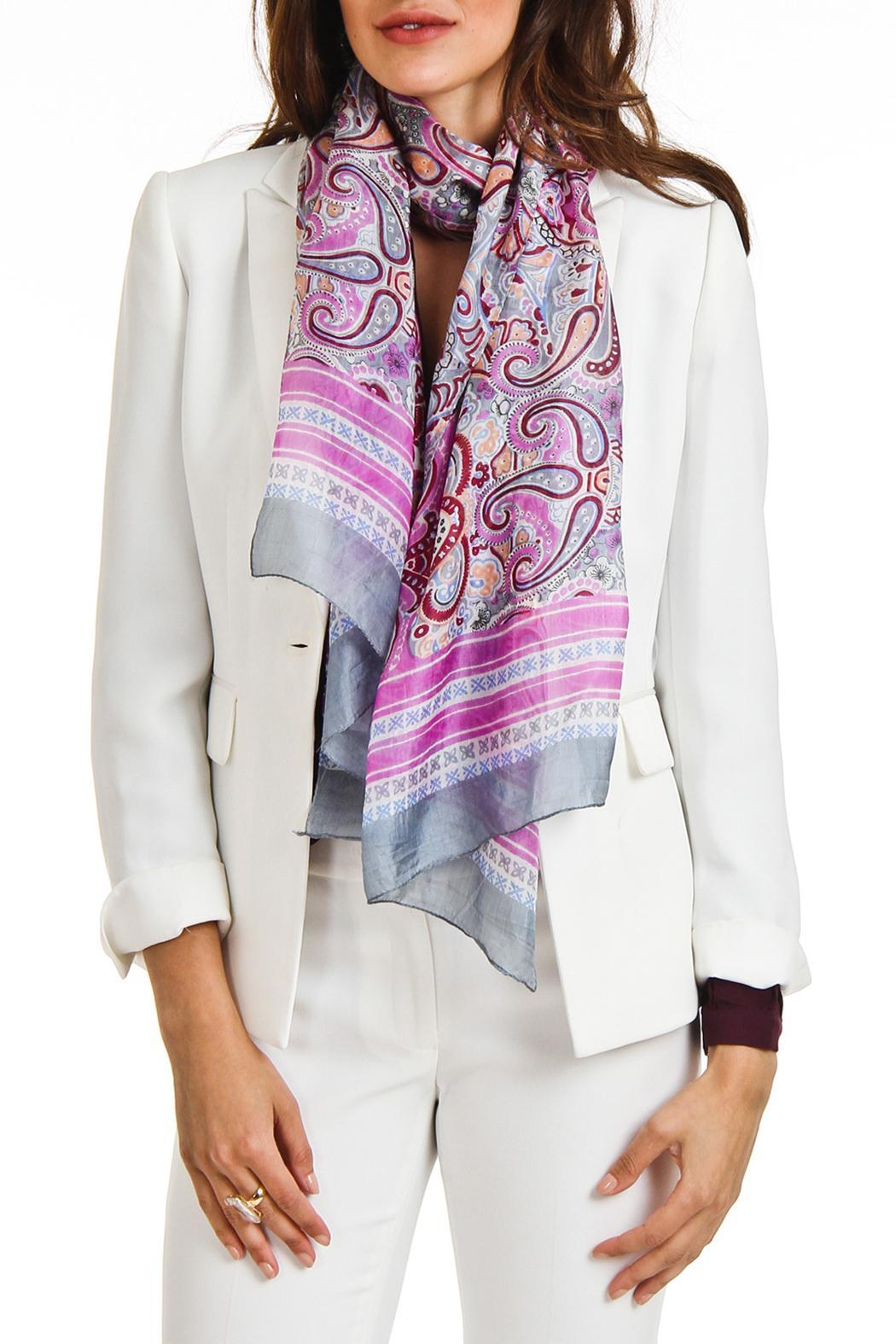 Violet Del Mar Silk Paisley Scarf - Front Full Image