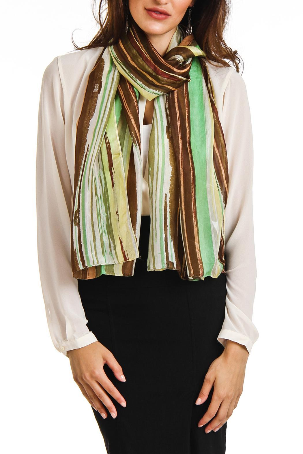 Violet Del Mar Silk Stripe Scarf - Side Cropped Image