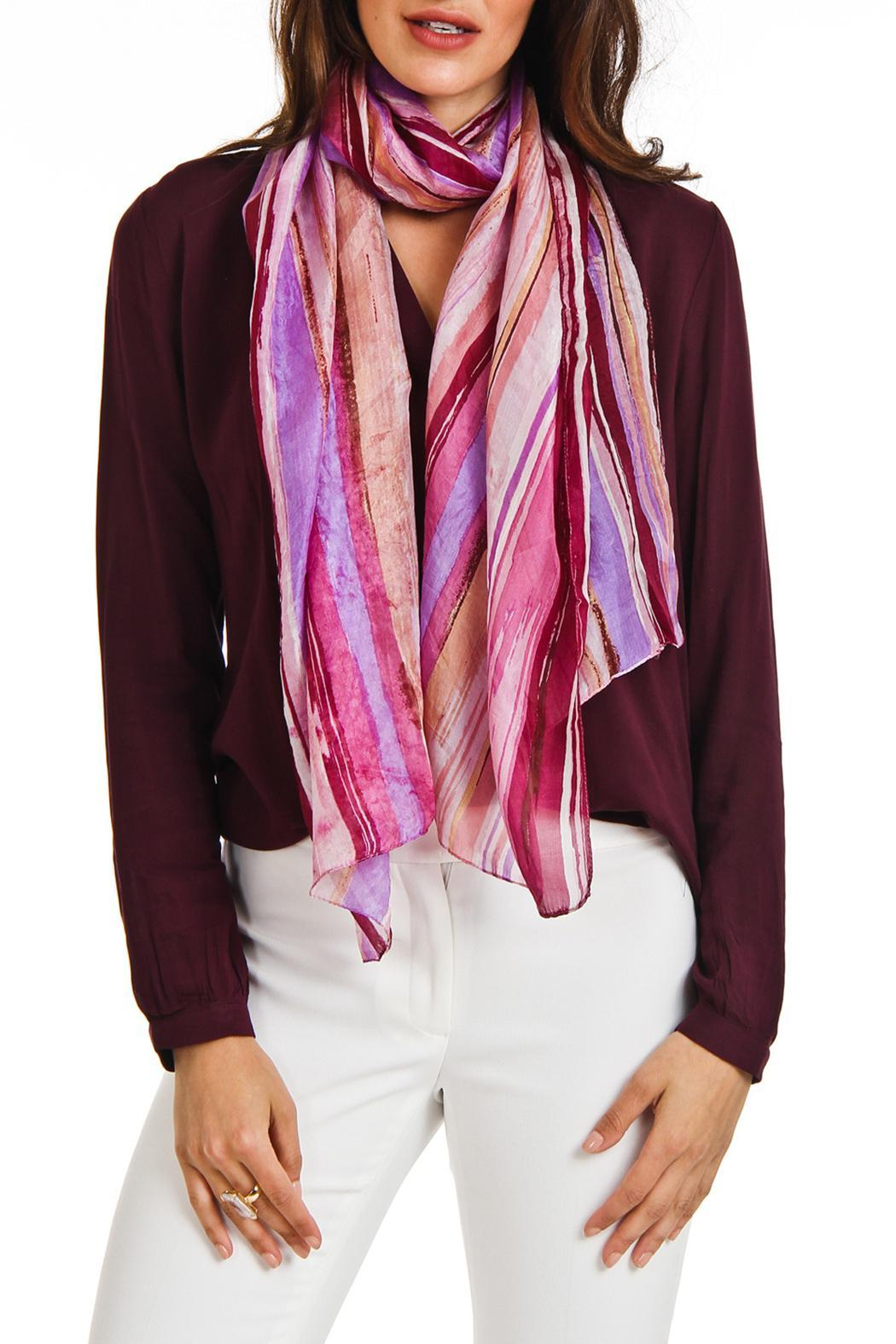 Violet Del Mar Silk Stripe Scarf - Back Cropped Image