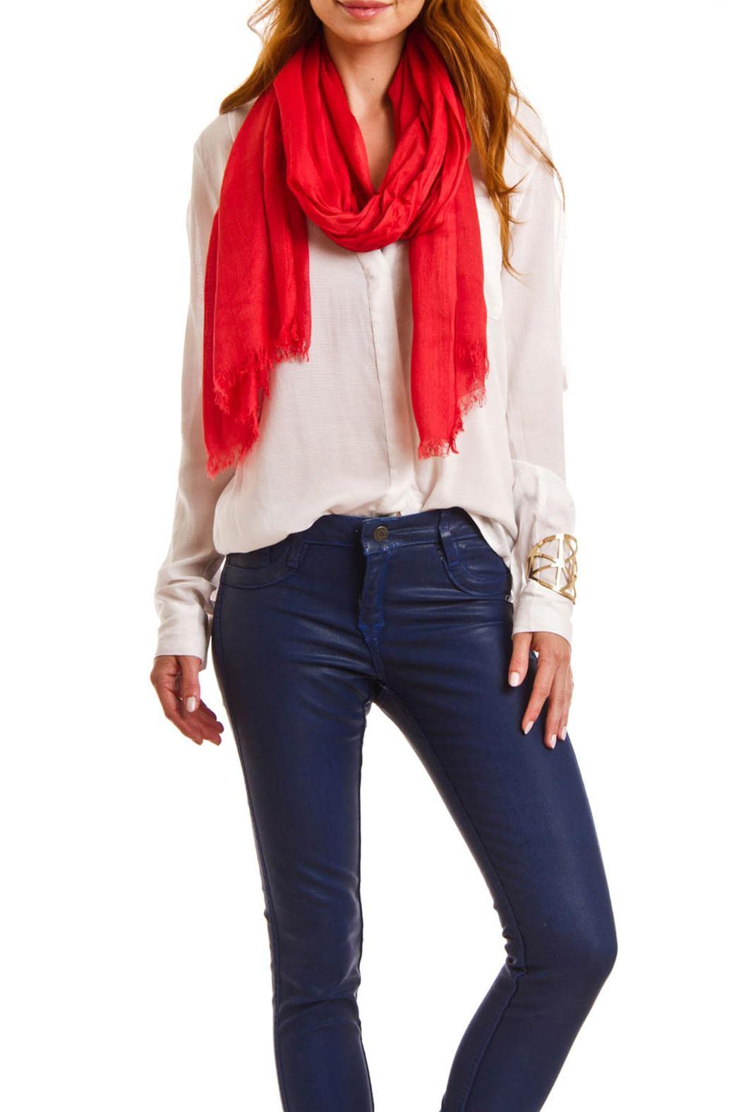 Violet Del Mar Solid Colored Scarf - Side Cropped Image