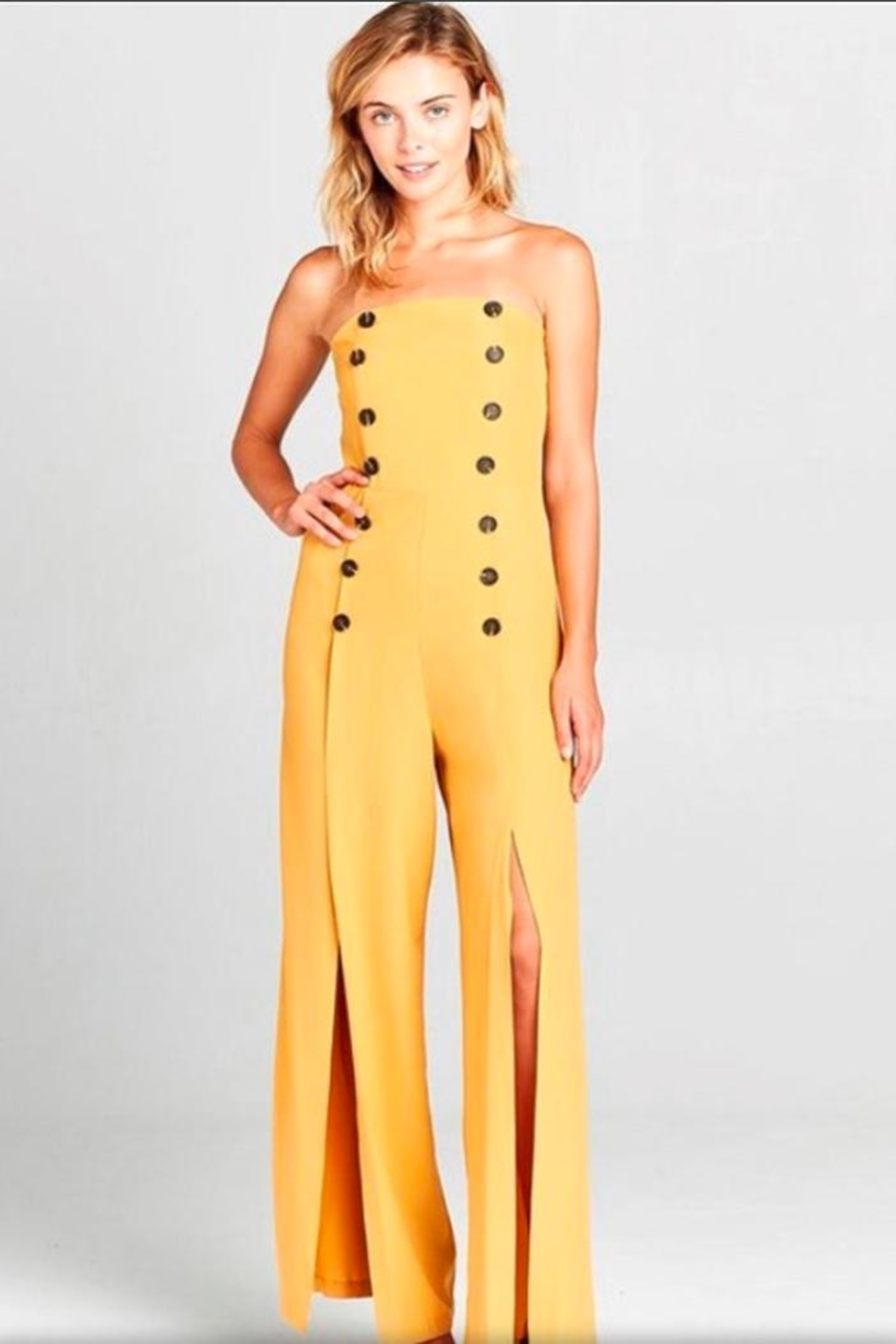 virgin only Mustard Bandeau Jumpsuit - Main Image