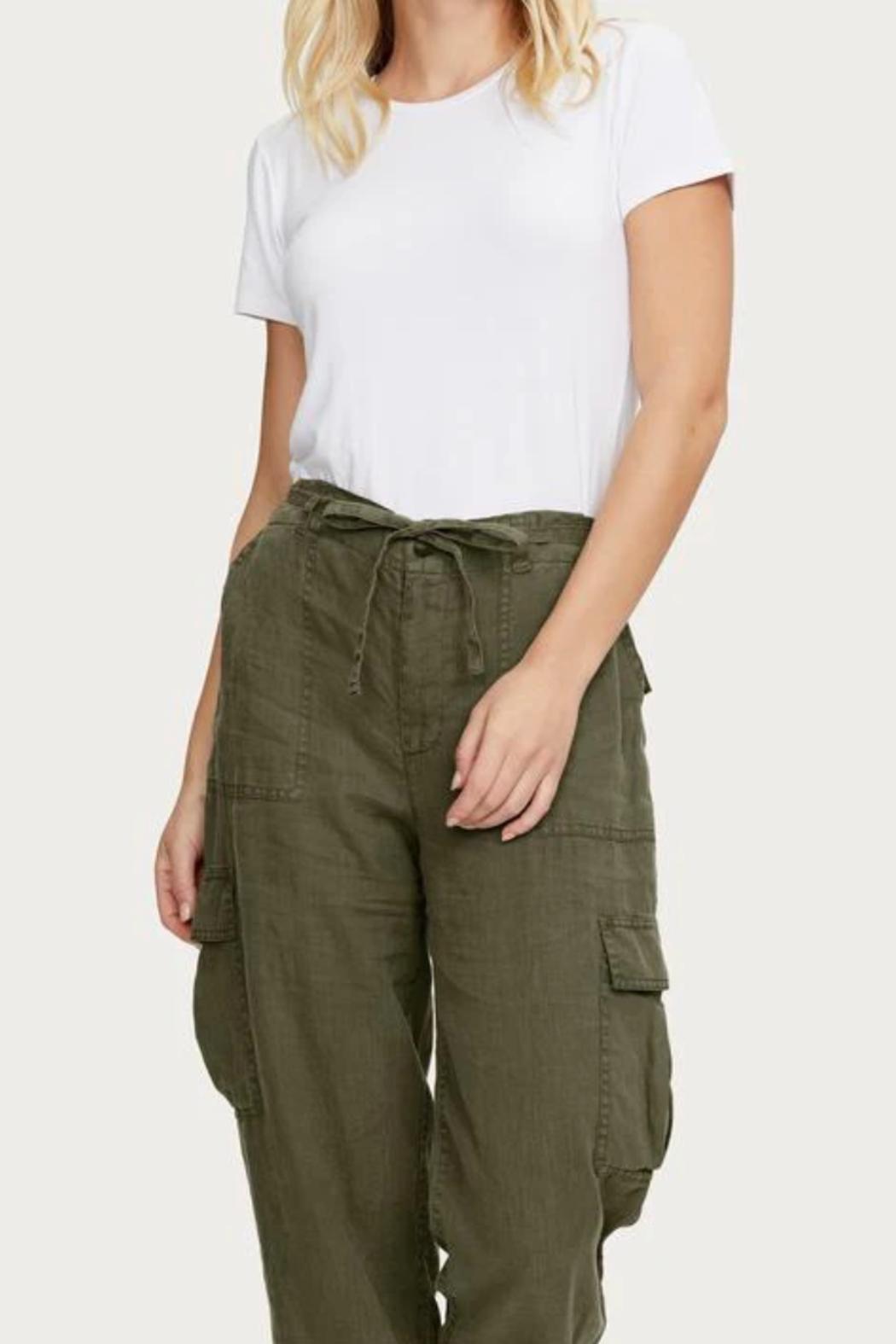 Michael Stars Virginia Linen Cargo Pant - Back Cropped Image