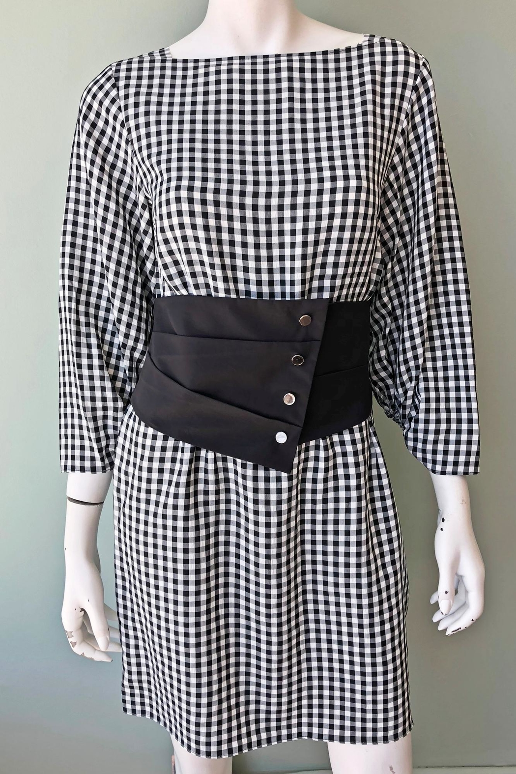 Tibi Viscose Gingham Dress - Front Full Image