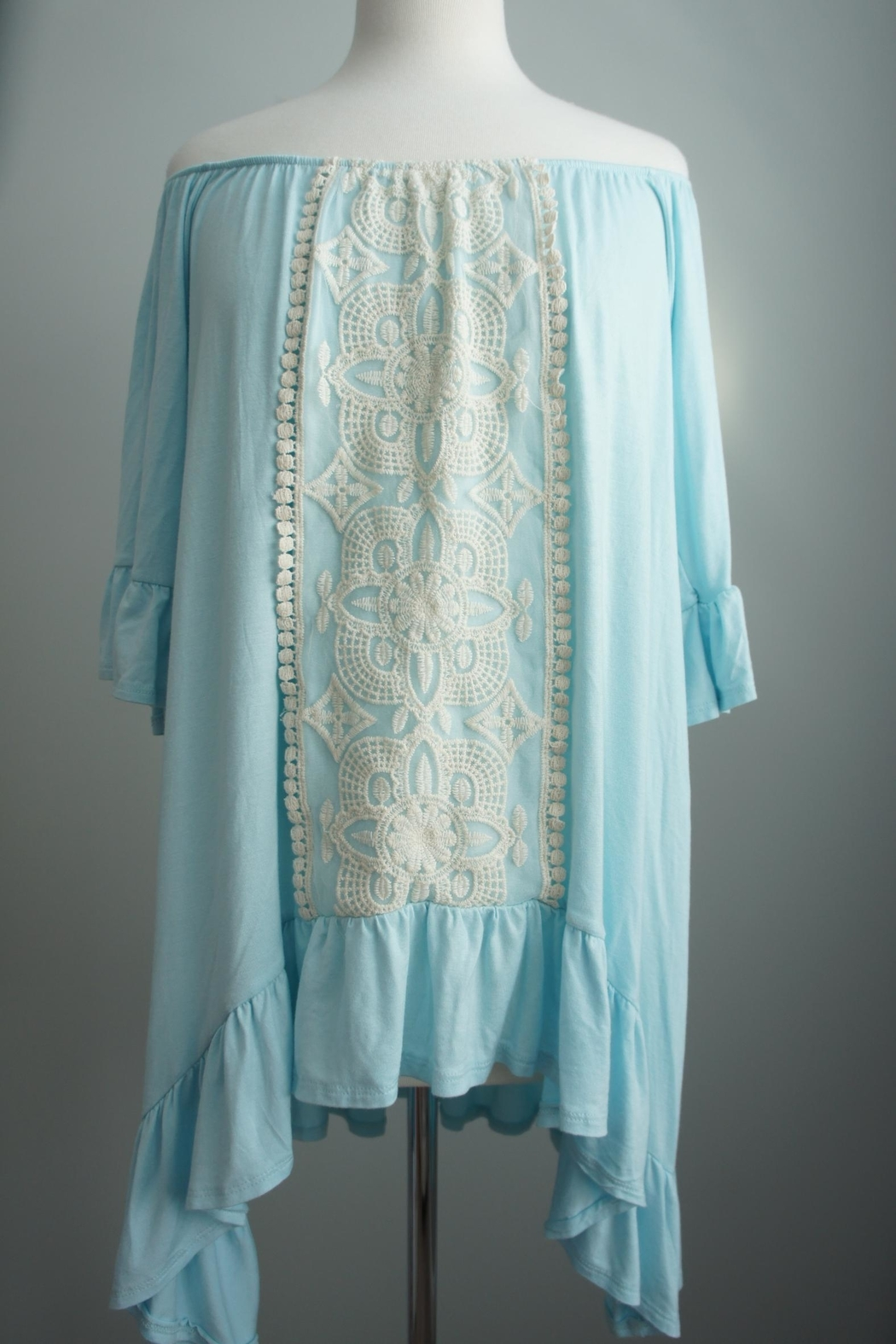 Vision Off-The-Shoulder Lace-Accent Tunic - Main Image