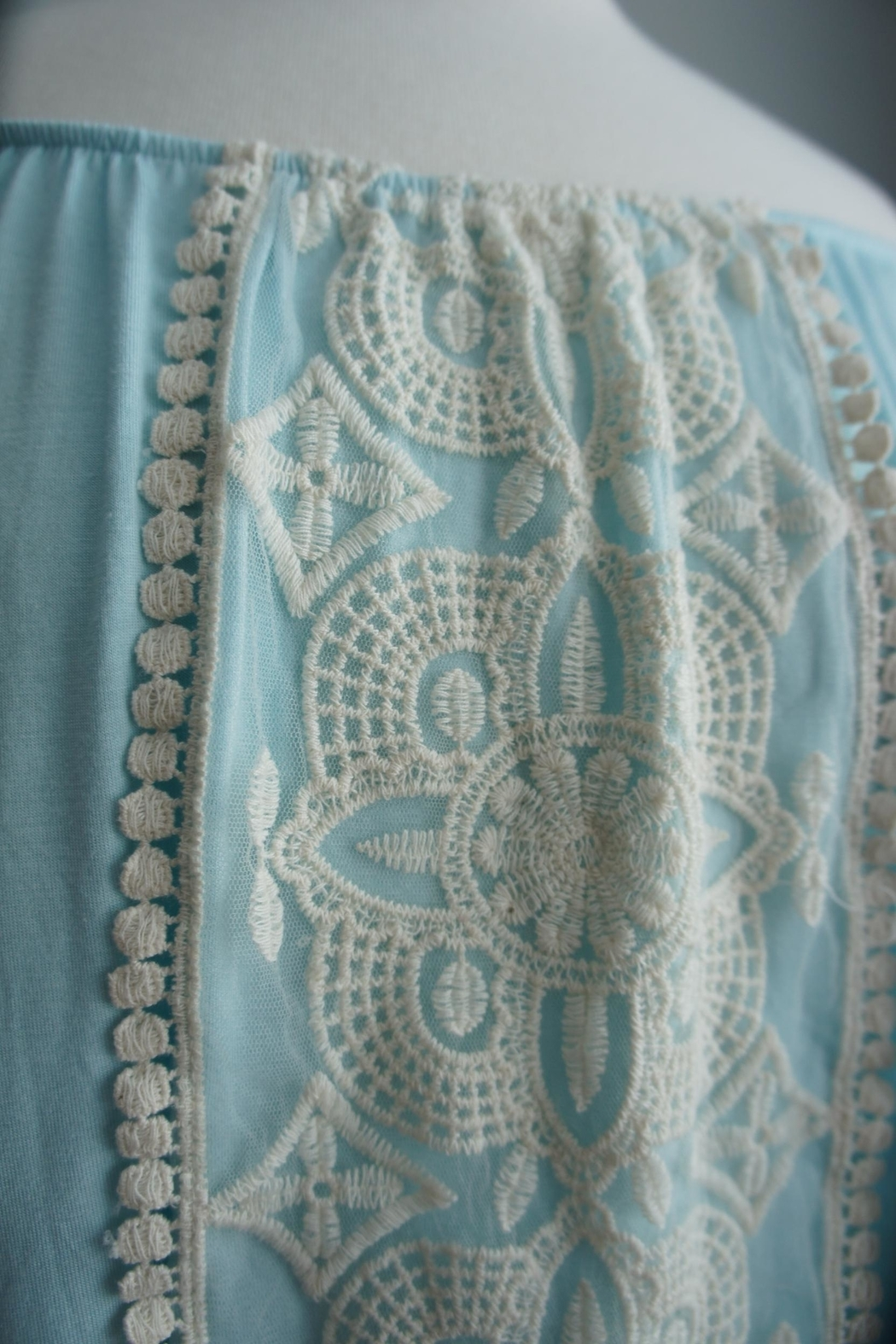 Vision Off-The-Shoulder Lace-Accent Tunic - Side Cropped Image