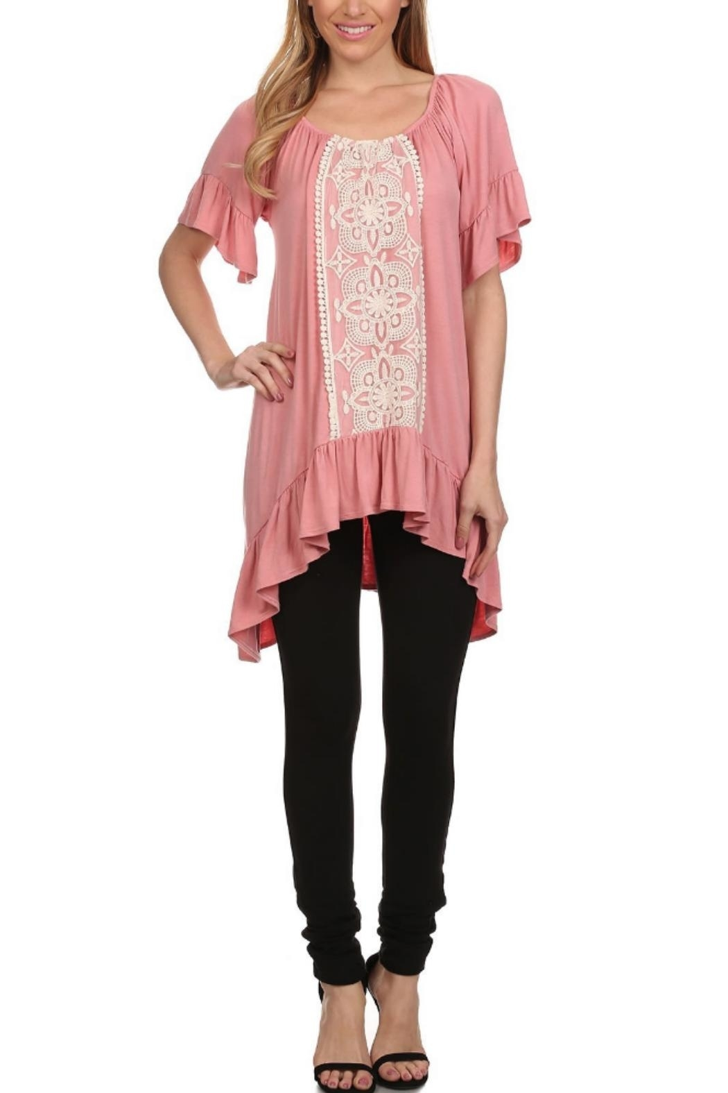 Vision Off-The-Shoulder Lace-Accent Tunic - Front Cropped Image