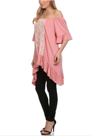 Vision Off-The-Shoulder Lace-Accent Tunic - Front full body