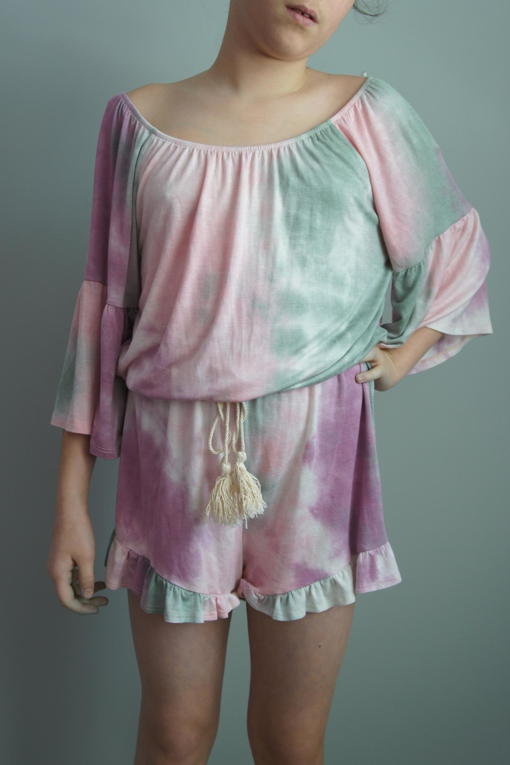 Vision Tie-Dye Romper Shorts - Front Cropped Image