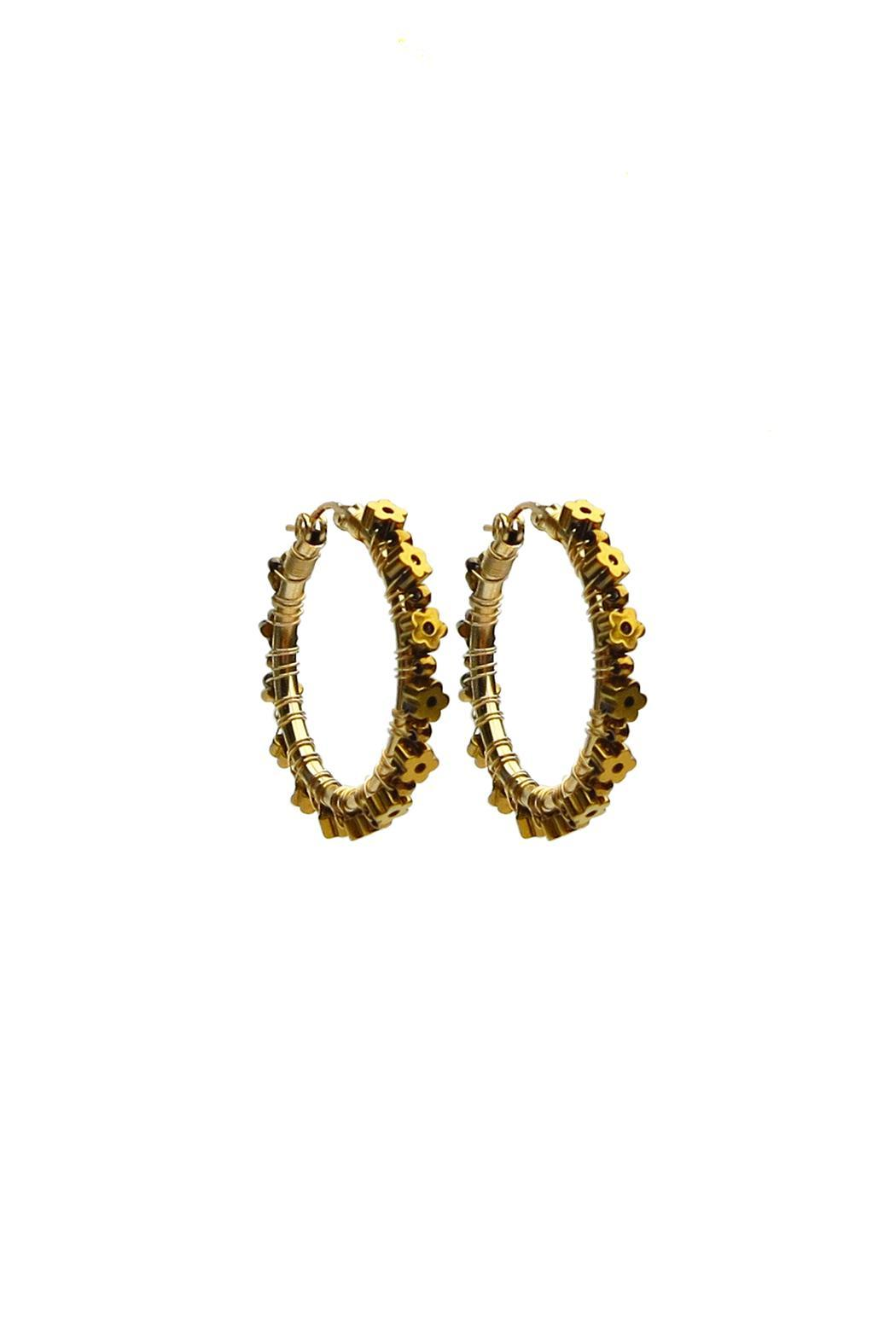 viv&ingrid Hematite Daisy Hoops - Front Cropped Image