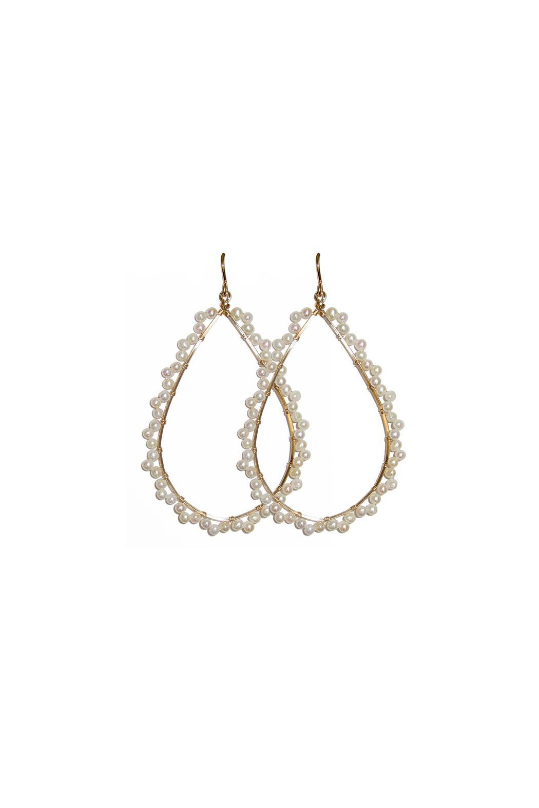 viv&ingrid Pearl Scalloped Hoops - Front Cropped Image