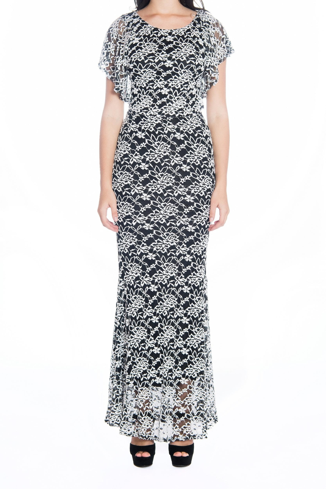 Vivayou Long Lace Dress - Front Cropped Image