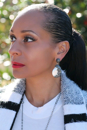 Fabulina Designs Vivianne Pearl Pavé Earrings - Front cropped
