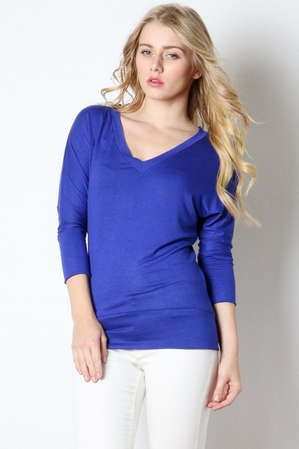 Zenana Outfitters Vneck Banded Top - Main Image