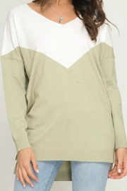 She + Sky Vneck Chevron Sweater - Front cropped
