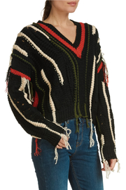 Elan International Vneck Distressed Fringe Sweater - Product Mini Image