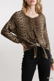 umgee  VNECK DOLMAN SLV TOP W/ TIE - Front cropped