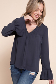 Mittoshop VNECK SHIRRING DETAIL BELL SLV BLOUSE - Product Mini Image