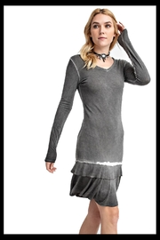 Vocal Black garment dyed knit dress with ruffle and long sleeves - Product Mini Image