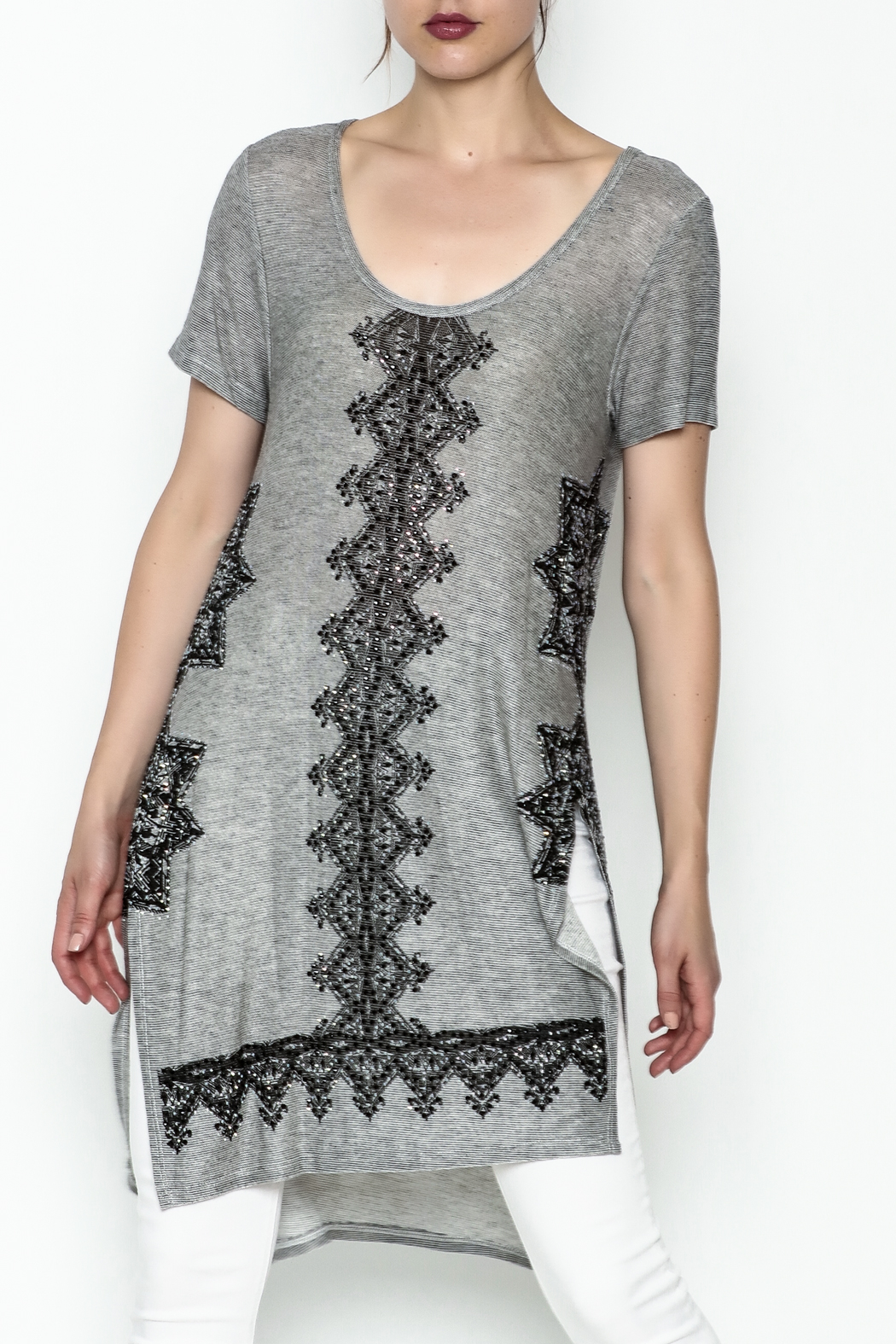 Vocal Light Grey Tunic Top - Front Cropped Image