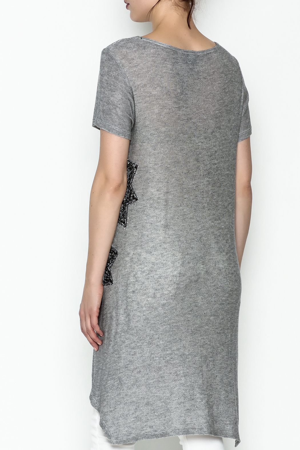 Vocal Light Grey Tunic Top - Back Cropped Image