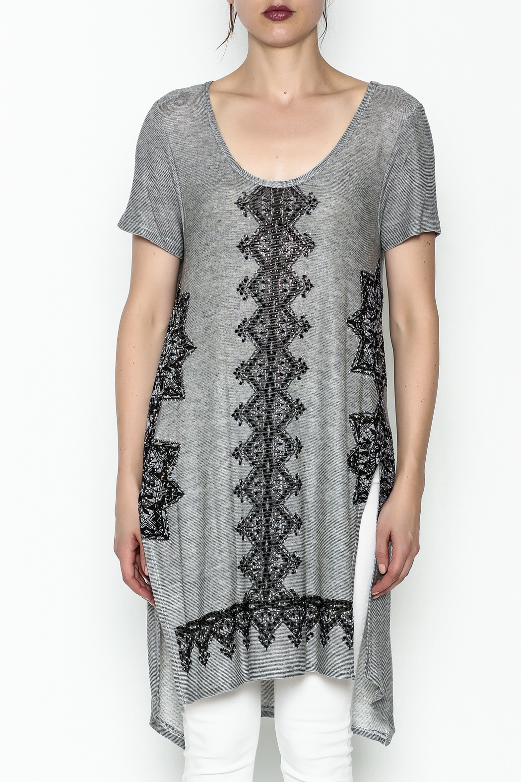 Vocal Light Grey Tunic Top - Front Full Image