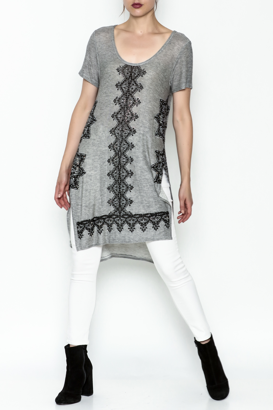 Vocal Light Grey Tunic Top - Side Cropped Image