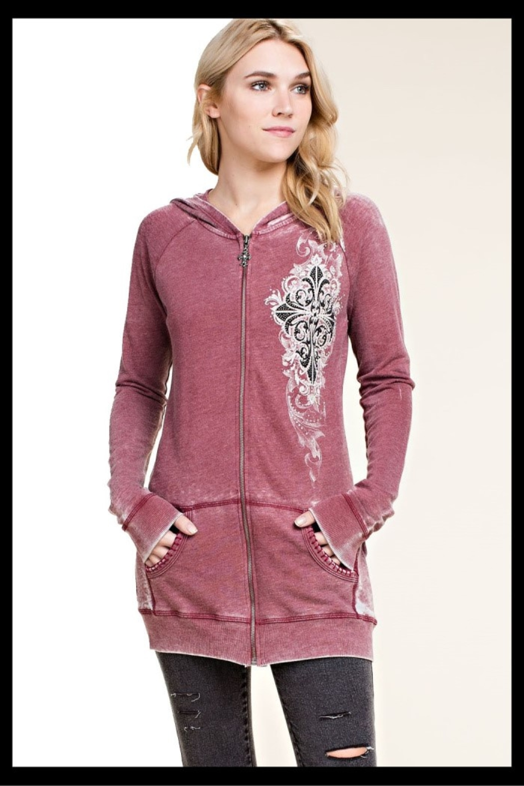 Vocal soft knit hoodie with tie dyed with print and stone detail - Main Image